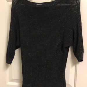 Slouchy black sparkle net sweater top